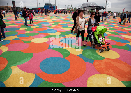 London 2012 Olympic Park in Stratford. Coloured walkway which is soft and child friendly.