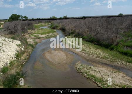 Arkansas River near the Colorado/Kansas border. - Stock Photo