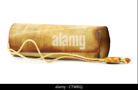 Old rolled paper isolated on a white - Stock Photo