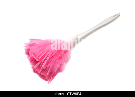 Pink feather duster on white background - Stock Photo
