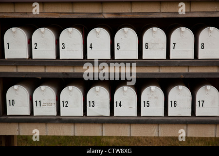 numbered closed mailboxes - Stock Photo
