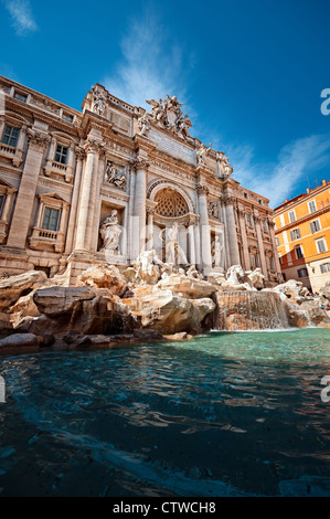 Trevi Fountain (Fontana di Trevi) is one of the most famous landmark in Rome. - Stock Photo