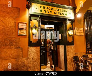 Chocolateria, San Gines, Madrid, Spain - Stock Photo