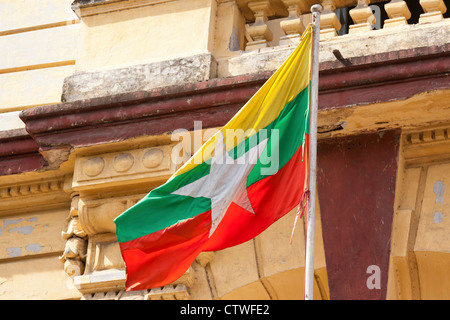 Myanmar flag, Yangon - Stock Photo