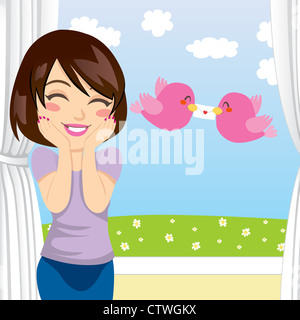 Beautiful woman gets happy surprise when two birds give her a love letter through an open window - Stock Photo
