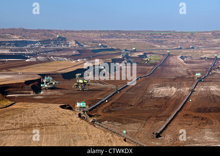 Brown coal / lignite being extracted by huge bucket-wheel excavators at open-pit mine, Saxony-Anhalt, Germany - Stock Photo