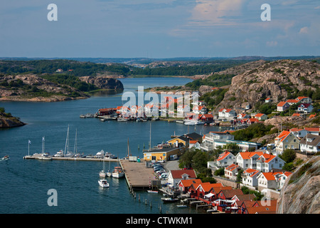 View over the harbour of the fishing village Fjällbacka, Bohuslän, Sweden - Stock Photo