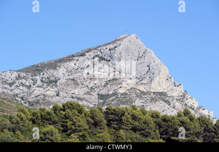 View of Mont Sainte-Victoire, near Aix-en-Provence, France. This mountain peak has inspired French famous painter - Stock Photo