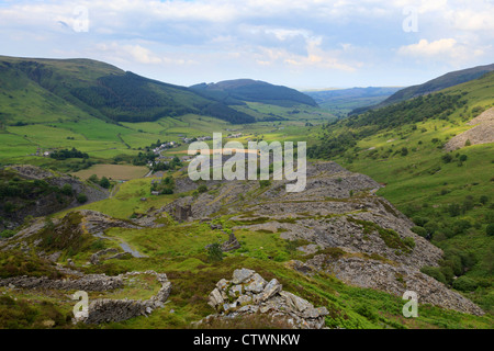 A view looking over Cwm Penmachno Quarry - Stock Photo
