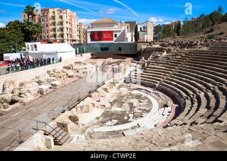View from La Alcazaba fortress Malaga Spain - Stock Photo