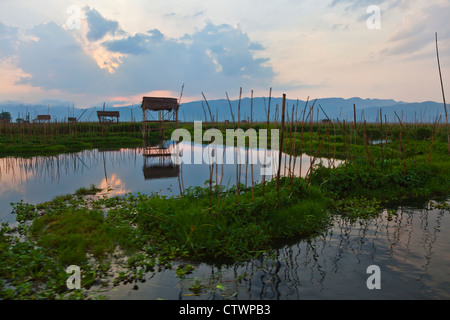AGRICULTURAL HUTS surrounding INLE LAKE - MYANMAR - Stock Photo