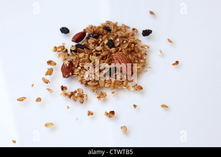 Granola Cereal (rolled oats with dried fruits and nuts) - Stock Photo