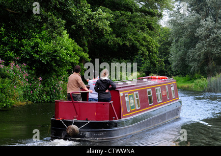 A canal baot on the River Wey Navigation Surrey UK - Stock Photo