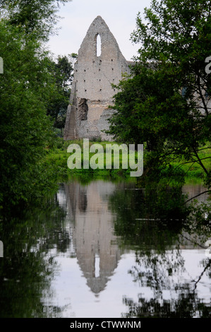 A view of the priory at  Newark Lock River Wey Navigation Surrey UK - Stock Photo