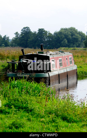 A view of the River Wey Navigation Surrey UK - Stock Photo
