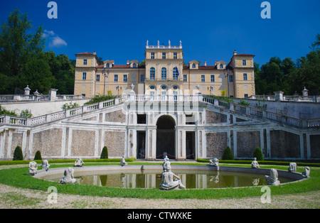 Facade and fountain of Villa della Regina in Turin, Italy - Stock Photo