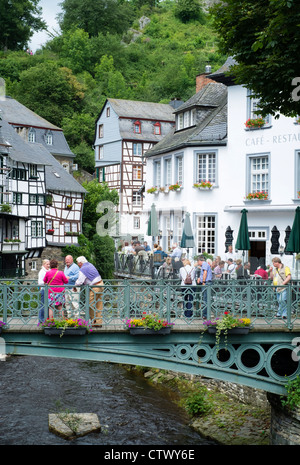 View of old half-timbered houses in historic village of Monschau in Eifel Region of Germany - Stock Photo