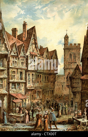 Vintage picture of old London. Bucklesbury, Cheapside in the Elizabethan Period. After Waldo Sergeant - Stock Photo