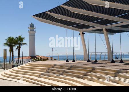 The new viewing balcony on the seafront at Playa Ferrara Costa Torrox Spain - Stock Photo