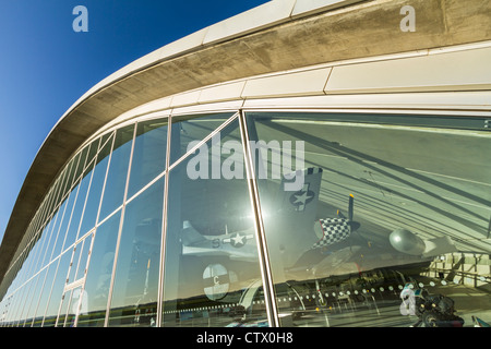 The facade of the American Air Museum gallery at Imperial War Museum Duxford, Cambridgeshire, England - Stock Photo