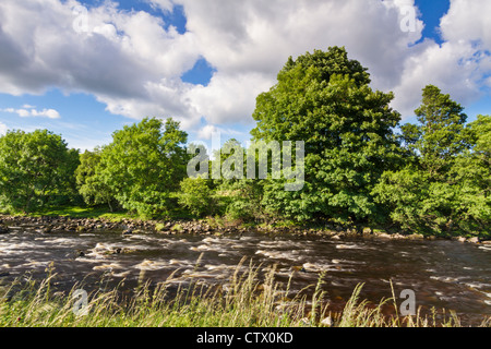 The River Tees from the Pennine Way in the North Pennines Area of Outstanding Natural Beauty, Teesdale, County Durham, - Stock Photo