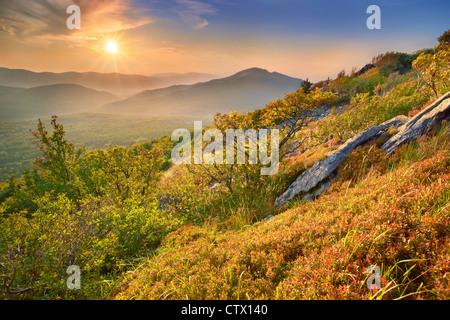 Autumn landscape in Bieszczady National Park, Poland - Stock Photo