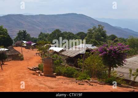 Houses in a typical AKHA village near KENGTUNG also known as KYAINGTONG - MYANMAR - Stock Photo