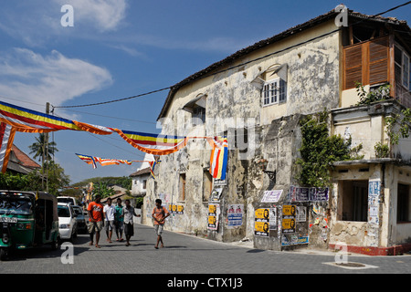 Street scene and architecture within historic Galle Fort, Galle, Sri Lanka - Stock Photo