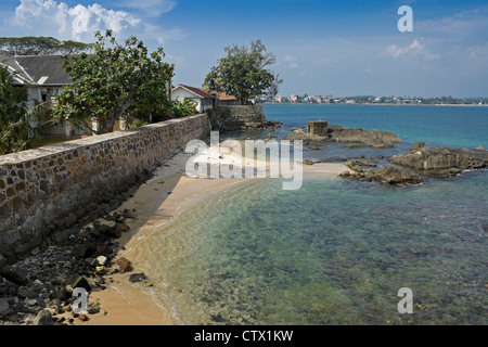 View from rampart of historic Galle Fort, Galle, Sri Lanka - Stock Photo