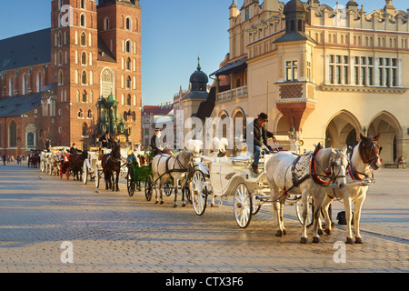 Carriage waiting for tourists, Cracow, Poland, UNESCO - Stock Photo