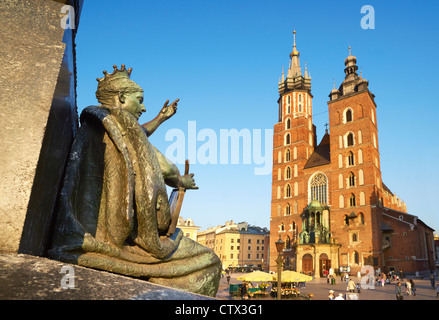 A part of Adam Mickiewicz Monument and Church, St. Mary's Church, Krakow (Cracow), Poland, Europe (UNESCO) - Stock Photo