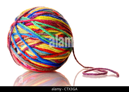 ball of colorful wool yarn - Stock Photo