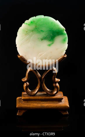 Chinese jade screen made in the early 1900's. - Stock Photo