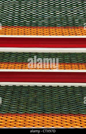 Tile of roof temple in Bangkok, Thailand - Stock Photo