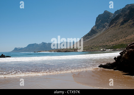 Sea & mountains at Rooi Els a coastal resort on the Atlantic Ocean Western cape South Africa - Stock Photo