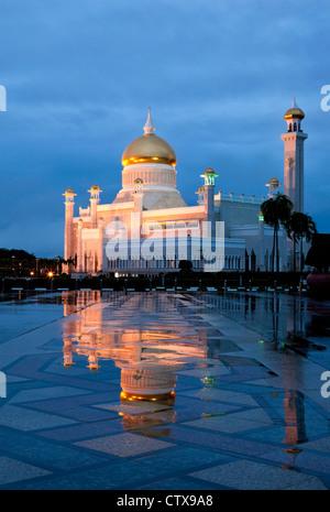 Omar Ali Saifuddien Mosque at dawn  Bandar Seri Begawan Brunei. - Stock Photo