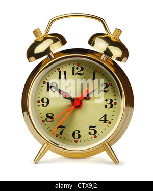 Classic style gold alarm clock isolated on white - Stock Photo