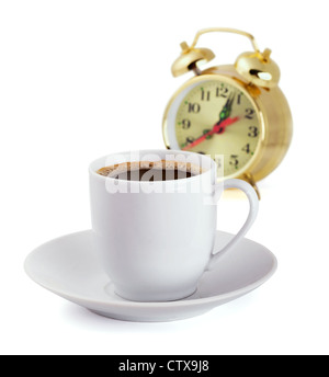 Coffe cup and alarm clock isolated on white - Stock Photo