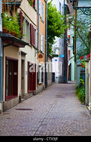 A street scene along Predigergasse in Zurich, Switzerland - Stock Photo