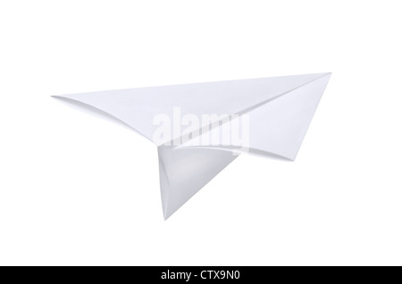 Paper airplane isolated on white - Stock Photo