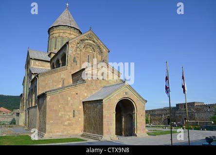 Svetitskhoveli Orthodox Cathedral in the historical town Mtskheta. Georgia - Stock Photo