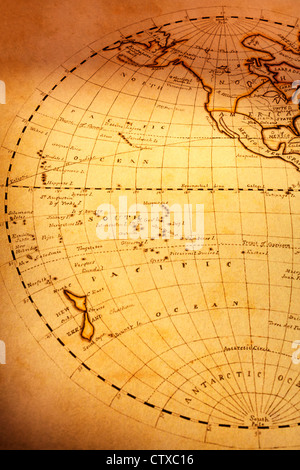 Part of old world map, showing South Pacific Ocean and New Zealand. Focus is on Pacific - Stock Photo