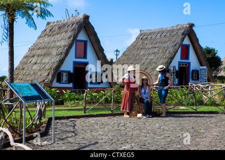 Traditional Palheiro house Santana Madeira Portugal - Stock Photo