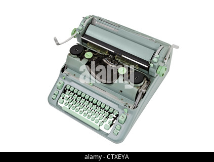 Vintage manual green metal typewriter isolated with clipping path. - Stock Photo