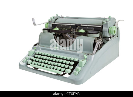 Vintage Green 1960's typewriter isolated with clipping Path. - Stock Photo