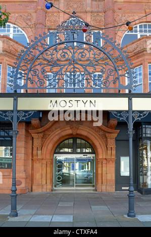 Oriel Mostyn Art Gallery entrance with terracotta facade - Stock Photo