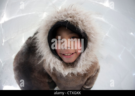 Inuit boy on the North Pole - Stock Photo