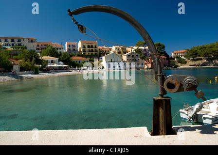 Assos Harbour, Kefalonia, Ionian Islands, Greece. - Stock Photo