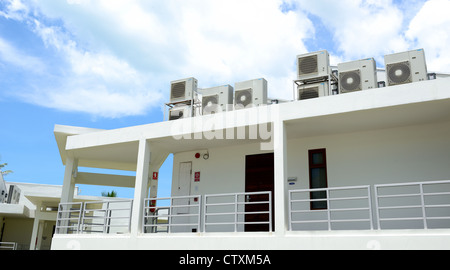 Compressor of air condition are set on platfrom of the building - Stock Photo