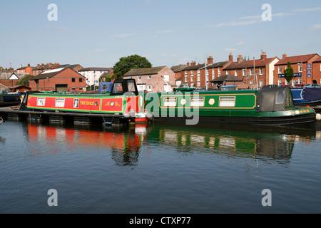 narrow boats Canal basin Stourport on Severn Worcestershire England UK - Stock Photo